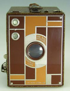 Beautiful! Early Kodak Beau Brownie No 2 Art Deco Metal Front Box Camera