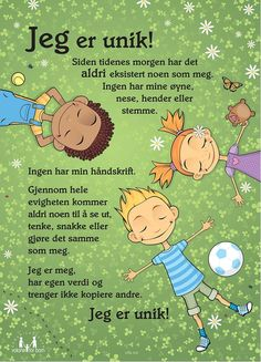 Plakat: Nye Eg er unik Coping Skills, Social Skills, Danish Language, Norway Language, Baby Barn, School Subjects, I School, Childhood Education, Classroom Management