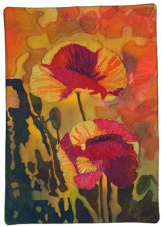Poppies Aglow by Carolynn McMillan.   SAQA Central Canada.  Artist's work chosen for the permanent collection at NATIONAL QUILT MUSEUM in Paducah, KY