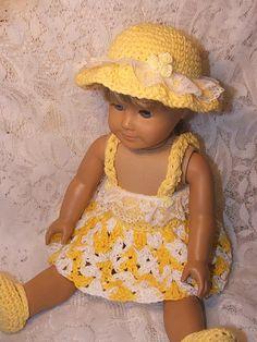 crochet sundress and hat for american girl doll (free pattern @ ravelry)