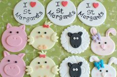 Farmyard themed cupcake toppers. The 'I love St Margarets' ones were made for my stall at our local community fair.
