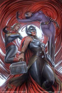 Secret Wars #1 variant cover by Adi Granov (Medusa, Thor, and Captain Marvel.)