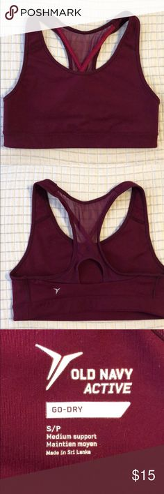 Like new burgundy sports bra Super cute sports bra with cross back detailing. Old Navy Intimates & Sleepwear Bras
