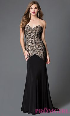 Drop Waist with Lace Bodice Long Xcite Prom Dress at PromGirl.com