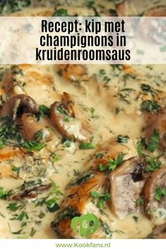 Recipe: chicken with mushrooms in herb cream sauce - Recept: kip met champignons in kruidenroomsaus When we feel like comfort food, we hardly care wha - Sauce A La Creme, Food And Thought, Healthy Slow Cooker, Mushroom Chicken, Food Platters, Happy Foods, Everyday Food, Chicken Recipes, Recipe Chicken