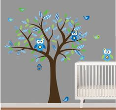 Boys Nursery Wall Decal Stickers Owl and Birds Tree Set Nursery  Pattern Leafs