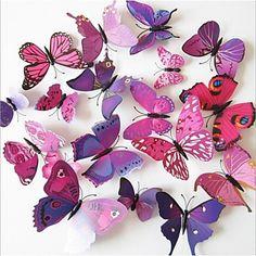 DIY 3D PVC Wall Sticker Butterfly 12 Pieces/Set - JPY ¥ 1,499