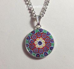 Sterling Silver Murano Millefiori Pendant Necklace Venetian Glass Murrina 12-1 #Pendant