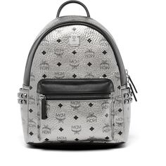 MCM Stark Backpack In Side Studded Visetos ($790) ❤ liked on Polyvore featuring bags, backpacks, backpack bags, studded backpack, white bag, zip top bag and faux-leather backpacks