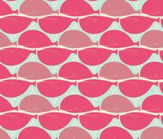 passionatepinkwhales fabric by karismithdesigns on Spoonflower - custom fabric Whale Art, Surface Design, Custom Fabric, Spoonflower, Art Reference, Craft Projects, Design Inspiration, Quilts, Wallpaper