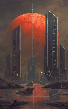 Kasai by Joseph Biwald [OC] : ImaginaryLandscapes Tags: reddit, concept art, space, planet, skyscraper, skyline, red