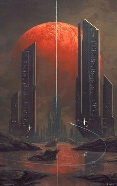 Kasai by Joseph Biwald [OC] : ImaginaryLandscapes Tags: reddit, concept art, space, planet, skyscraper, skyline, red