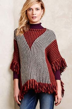 NWOT $138 Anthropologie Moth wine tan gray Fringed Winnie Poncho Sweater O/ S #Moth #fringedPoncho