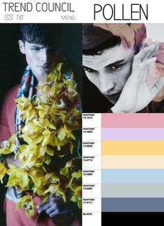 """Trend Council S/S2016 Young Men- This color palet exemplifies the future of pastels in fashion would be a nice fresh spring look for men. As always pastels will always appear sensible during the, """"Spring Awakening."""" The floral trend will carry on to the next season but not done as a 60s or 70s style but more subdued. Think high class prints."""