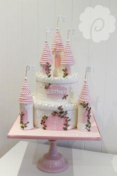 Cute girls princess castle cake #girls #pink #white #castle #cute