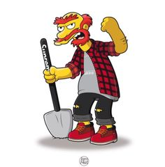 """""""The Simpsons"""" Characters Illustrated in Street Wear & As Famous Rap Stars by Mattia Lettieri"""