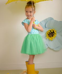 Look at this Taylor Joelle Designs Blue & Green Rain Drop Tutu Dress - Infant & Toddler on #zulily today!
