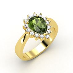 Pear Green Tourmaline, Multi-stone, Prong Set Ring in 14K Yellow Gold