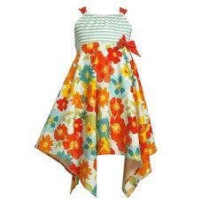 Felita Mode: Apparel: Size-4 BNJ-3470M TURQUOISE-BLUE MULTI BOLD ISLAND FLORAL PRINT ASYMMETRIC HEM KNIT Spring Summer Party Dress,M33470 Bonnie Jean LITTLE GIRLS