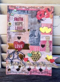 Love Art Journaling Page- Rhonda Merry- Front Porch Kits: The Greatest of these is Love- The Little Blue House