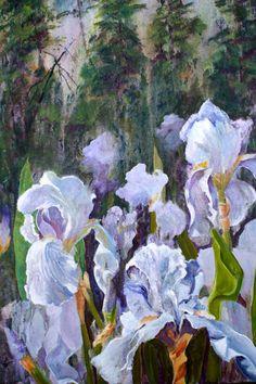 Large One of Glazed Resist Acrylic White Iris by patriciahaftar, $1025.00