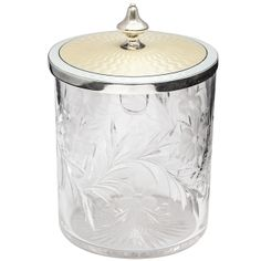 Tiffany Sterling Silver, Pale yellow Guilloche Enamel and Crystal Condiments Jar | From a unique collection of antique and modern sterling silver at http://www.1stdibs.com/furniture/dining-entertaining/sterling-silver/