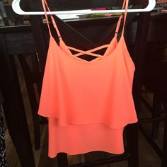 Bright pink top Never worn! Super cute flattering layering you can see pictured Tops Crop Tops
