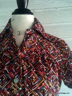Vintage 70s Top with RetroAbstract Detail by runaroundsuevintage, $12.00