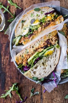Tuscan Tuna Sandwich- a healthy, no bake sandwich made with delicious Tuscan flavored ingredients & pressed between a crusty ciabatta. @halfbakedharvest.com
