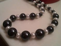 Beaded Necklace - Handmade beaded Necklace - Grey and White pearls
