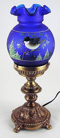 *FENTON ART GLASS ~ 14-1/2'' Cobalt Satin Lamp with Chickadee Design by Stacy Williams