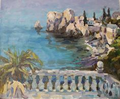 20x24 inches Seaside island mountains summer sun shine terrace by ELarikovaART on Etsy