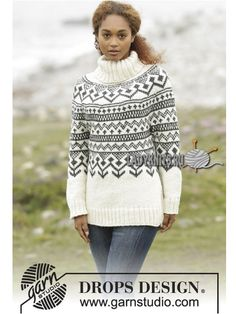 Nordic - Free knitting patterns and crochet patterns by DROPS Design Fair Isle Knitting Patterns, Fair Isle Pattern, Sweater Knitting Patterns, Knit Patterns, Free Knitting, Tejido Fair Isle, Punto Fair Isle, Drops Design, Pull Torsadé