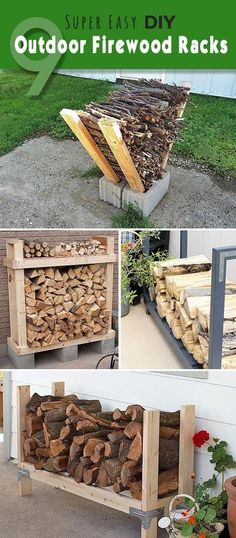 Here are some easy ways to store firewood outside: http://grow-vegetable.com/9-super-easy-diy-outdoor-firewood-racks/