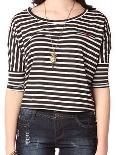Papaya Clothing Online :: RED BUTTON POINT STRIPED TOP US$13.50