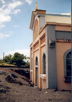 'In April 1977 when Piton-de-la-Fournaise erupted, the lava flowed down the east coast destroying everything in its path but miraculously separated and travelled around this church, now known as Notre Dame des Laves (Our Lady of the Lava).' Mauritius, Rodrigues, Réunion: the Bradt Guide www.bradtguides.com