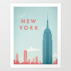 New York vintage travel poster of the Empire State Building. Original New York vintage travel poster by Henry Rivers. Buy a premium art print! New York Trip, New York Travel, New York City, Retro Poster, Poster Vintage, Vintage Travel Posters, Retro Print, New York Poster, Vintage New York