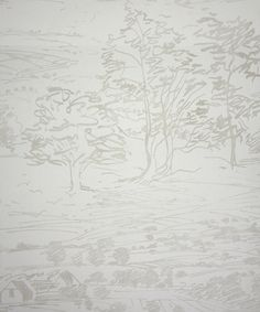 Sussex Downs Wallpaper A scenic printed wallpaper featuring an artists sketch of the Sussex Downs with  hills, trees and farm buildings, in ...