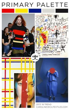 PRIMARY PALETTE trend inspiration for 2017 / 2018 from #carolinececiltextiles | trend | color | aw17 | fashion trends | primary colors | trend inspiration | textiles | mood board | salvador dali | piet mondrian | abstract art trend | basquiat | color trend | pattern | textile trend | SS17 | SS18 | cobalt | nyfwss17 | nyfw | fashion week