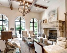 Beautiful Tuscan Villa style cozy living room decor with slipcovered sofa and armchairs, mediterranean style living room decor, modern cottage decor, Modern French Country, French Country Kitchens, French Country Bedrooms, French Country Living Room, French Country Decorating, Country Bathrooms, French Cottage, Southern Living, Country Chic