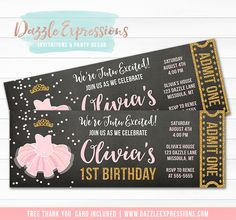 Printable Pink and Gold Tutu Chalkboard Ticket Birthday Invitation | Ballet Party | Glitter Ballerina Slipper | Girls Dance Party | Two Two | 1st Birthday | 2nd Birthday | Event | Cupcake Toppers | Signs | Favor Tag | Food Labels | Banner | Party Package Decor