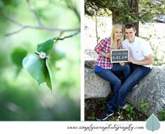 Engagement Photo Ideas with ring and a chalkboard