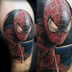 Male Shoulders Shiny Spiderman Tattoo
