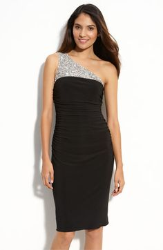 JS Boutique One Shoulder Beaded Jersey Dress