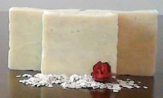 Oatmeal Almond Soap scented with rose geranium essential oil.