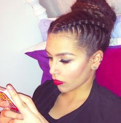 french braid bun hairstyle