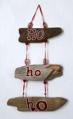 Ho Ho Ho Christmas Driftwood Decoration by PeaceLoveDriftwood, $25.00