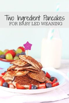 Pancakes made with just two ingredients. Gluten, dairy and sugar free . Perfect for baby led weaning and older children too | My Fussy Eater Blog #FoodForBaby
