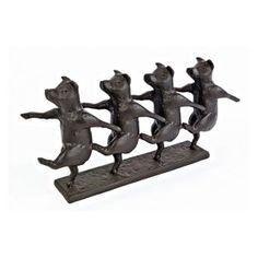 Design Toscano 7 in. Dancing Pig Chorus Line Cast Iron Statue - Sculptures & Figurines at Hayneedle