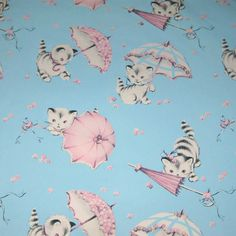 Vintage Blue and Pink Wrapping Paper or Gift Wrap with Cats or Kittens and Umbrellas